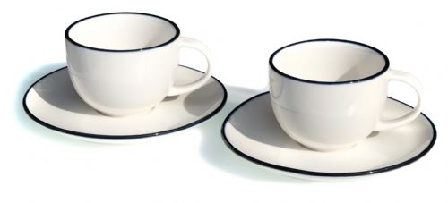 Blue rim Ocean Wave White ceramic cups & saucers x 2
